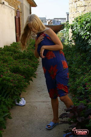 Preview Eva Virgin - Blonde Teen posing Nude Outside.  Very Pleasing to the Eyes!